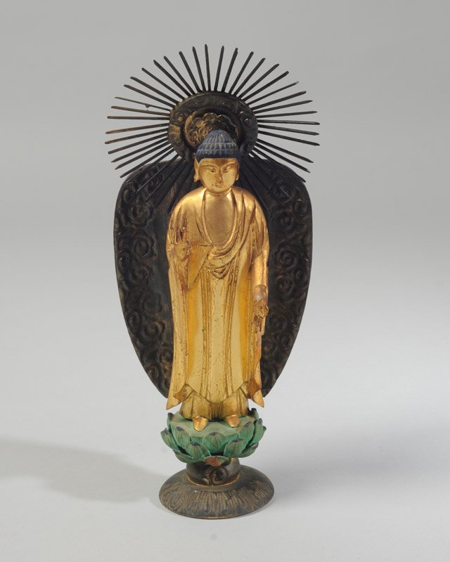 Japanese Gilt & Lacquer Statue of Kamon