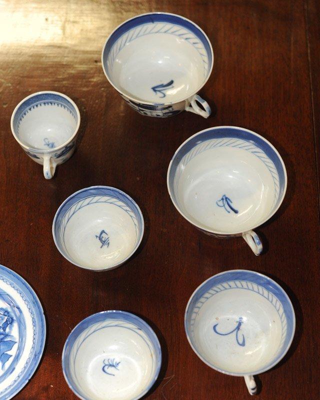 Lot Canton & Nanking China Blue & White Porcelain - 10