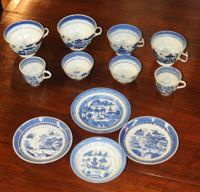 Lot Canton & Nanking China Blue & White Porcelain