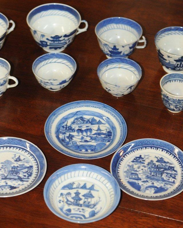 Lot Canton & Nanking China Blue & White Porcelain - 2