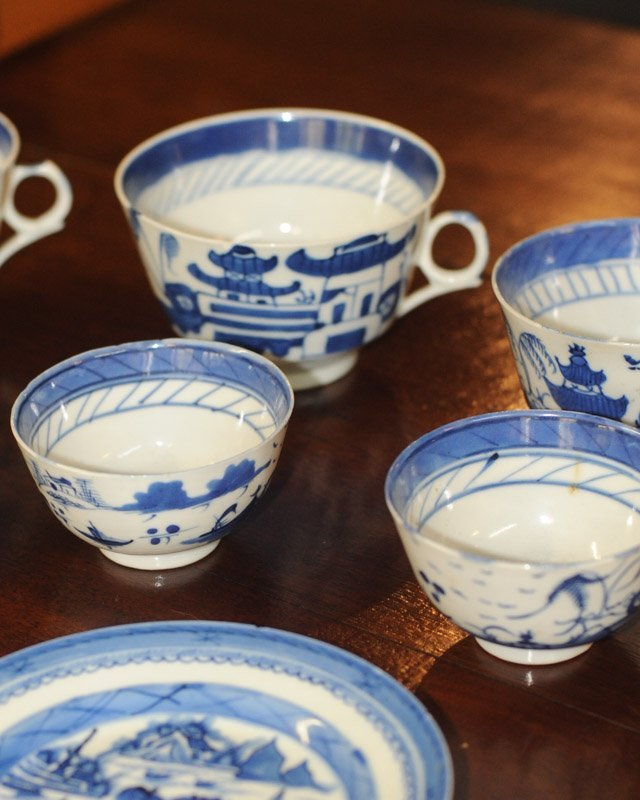 Lot Canton & Nanking China Blue & White Porcelain - 5