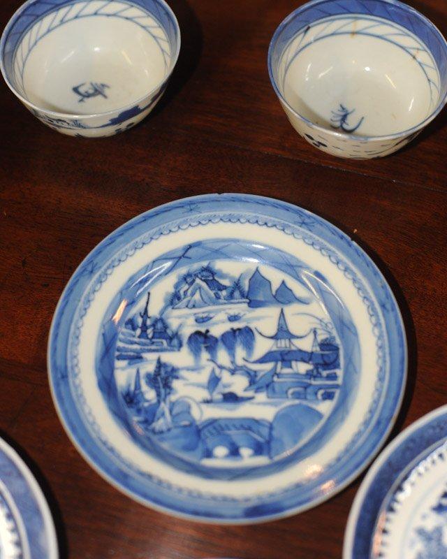 Lot Canton & Nanking China Blue & White Porcelain - 7