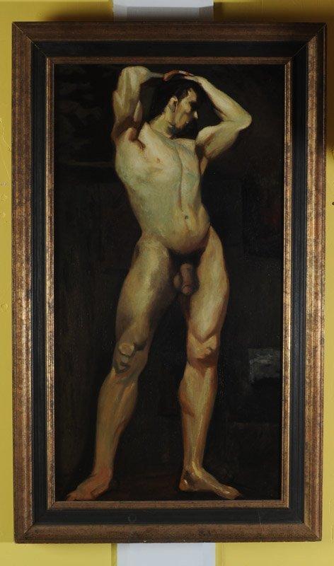 Oil on Masonite Male Nude