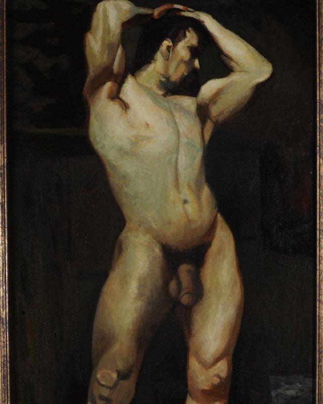 Oil on Masonite Male Nude - 2