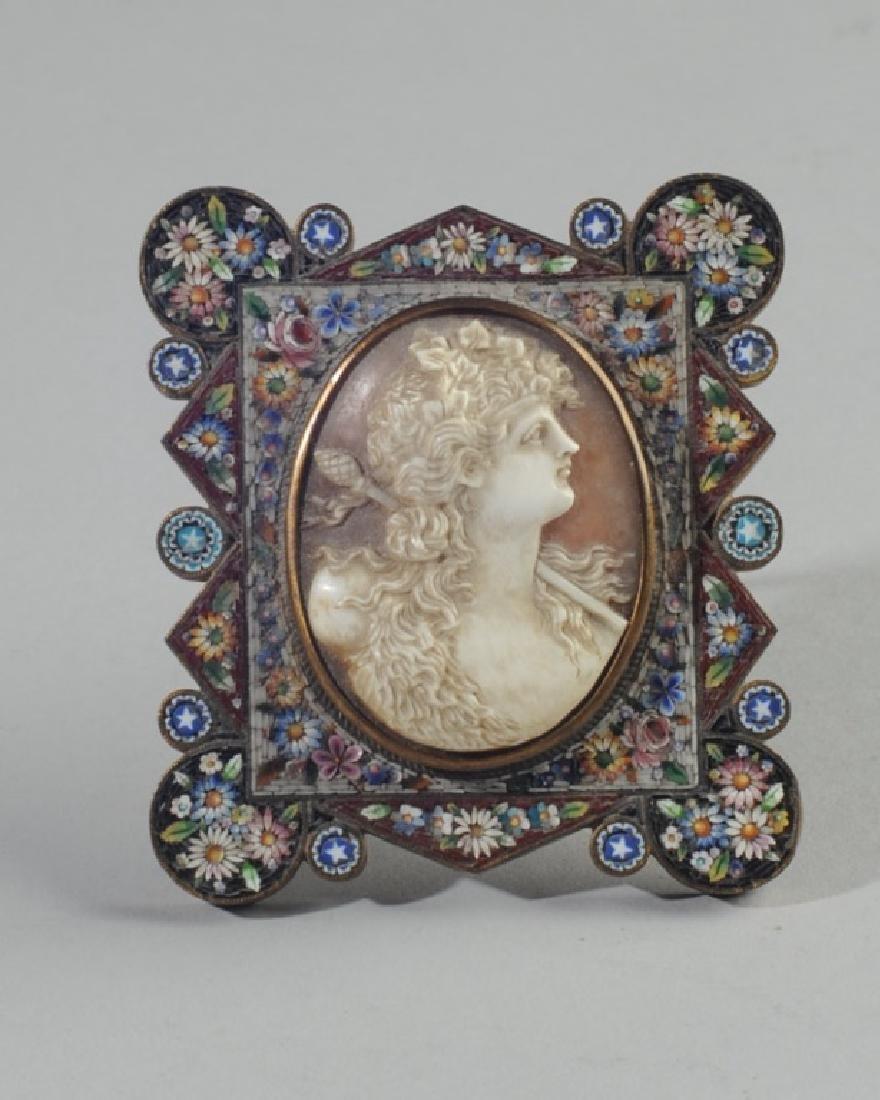 Italian Relief Cameo in Micromosiac Frame