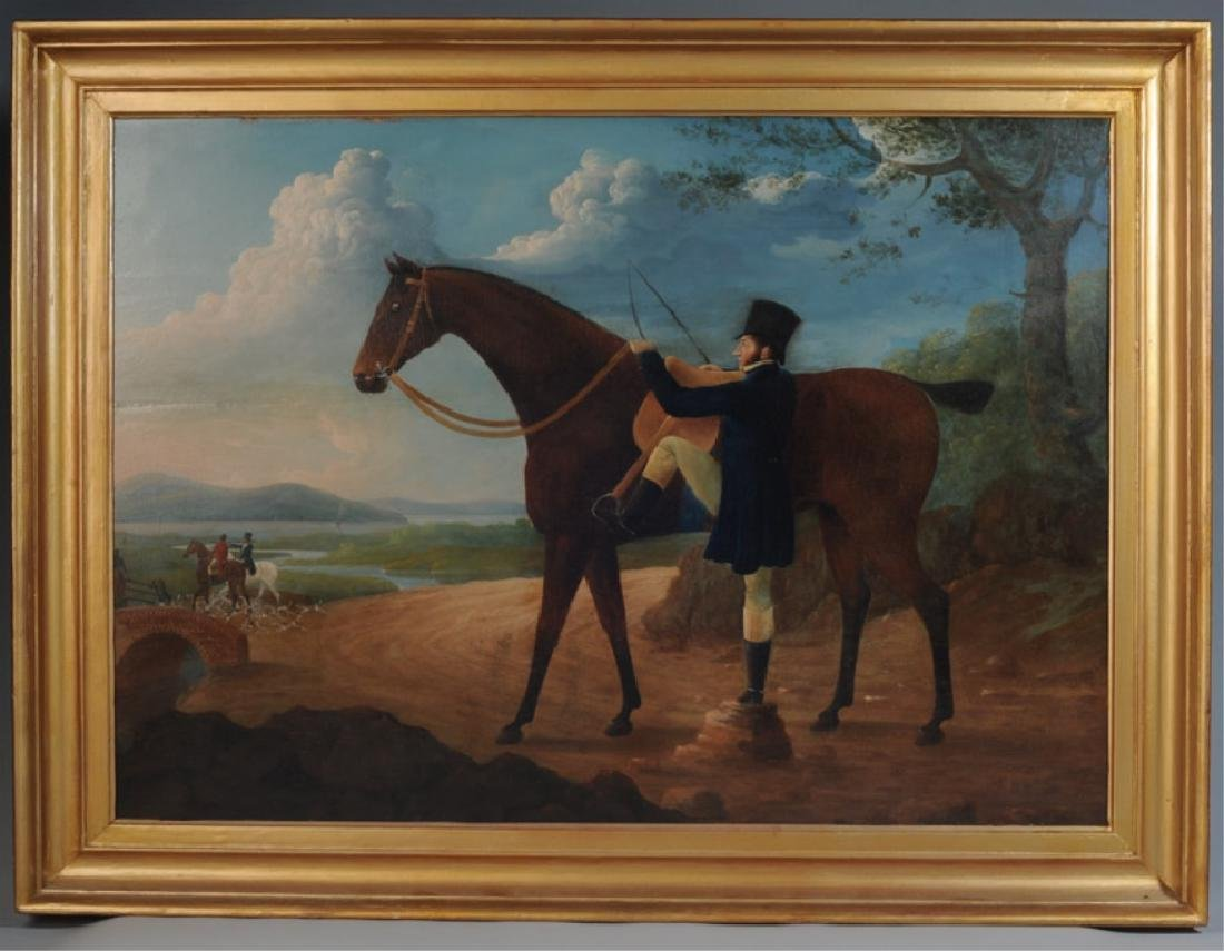 19th C. Oil on Board Huntsman Mounting Horse