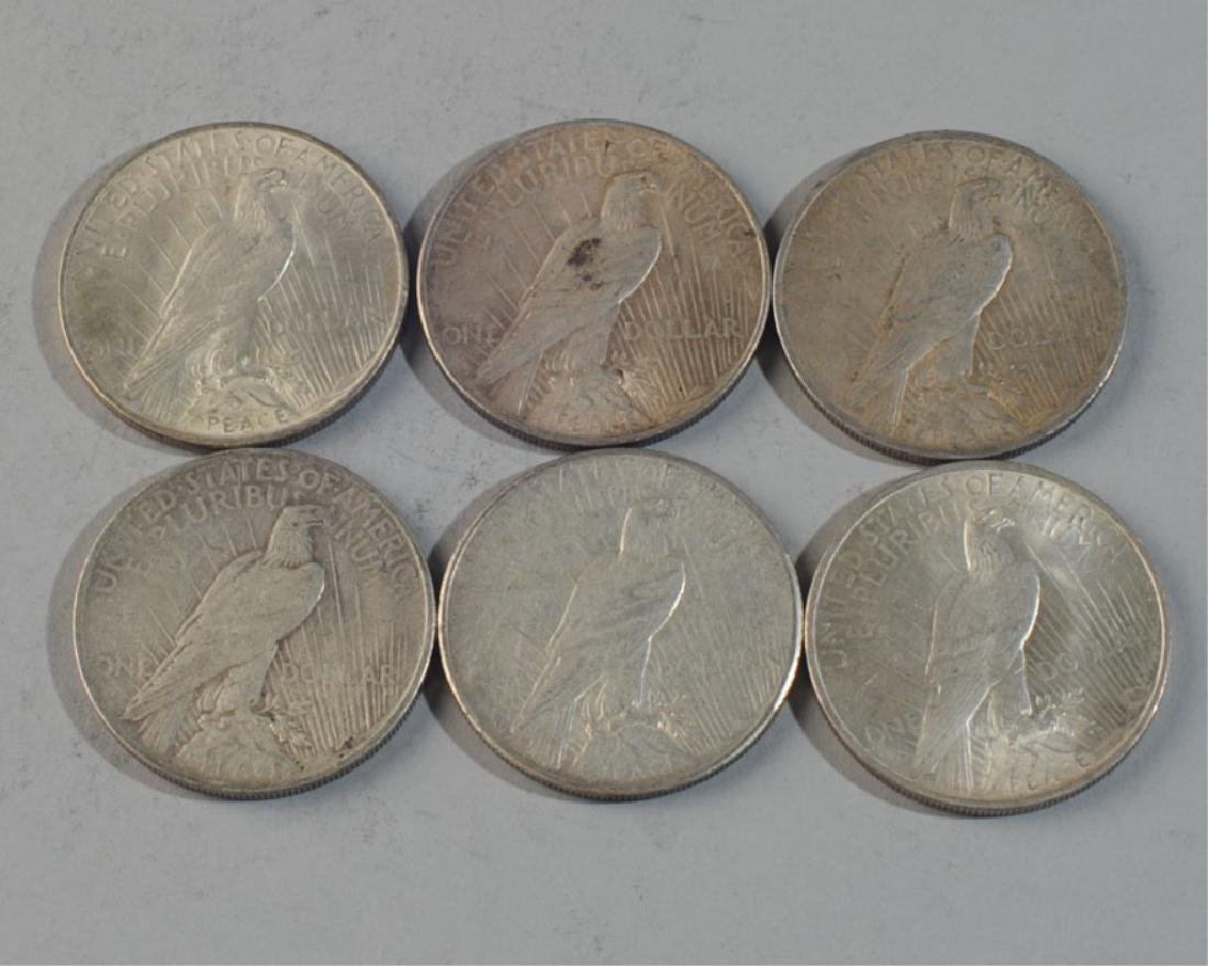 6 Peace Silver Dollars - 2