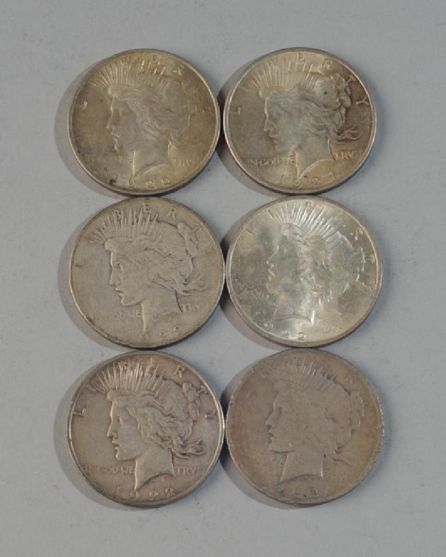 6 Peace Silver Dollars