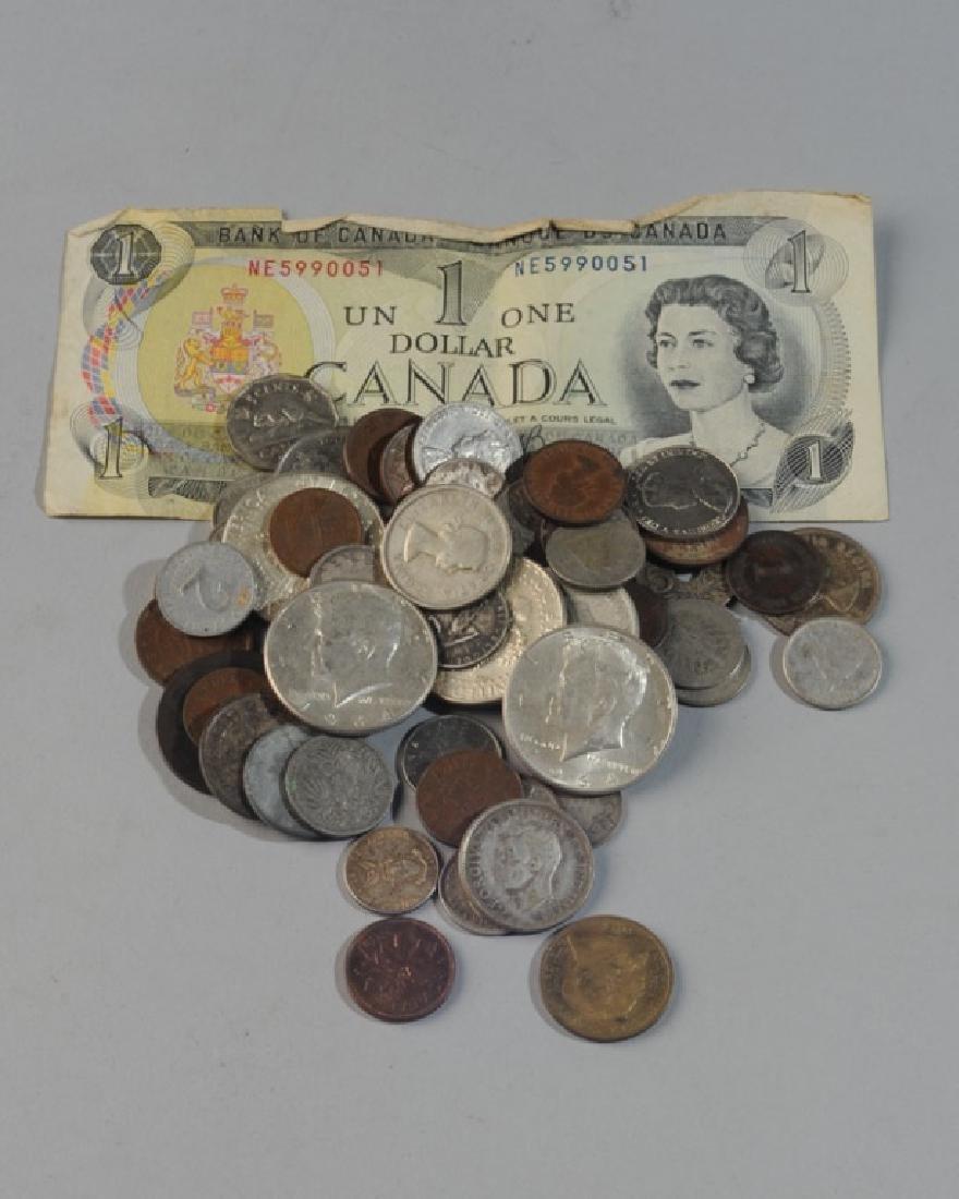 4 1964 Kennedy Halves & Foreign Money