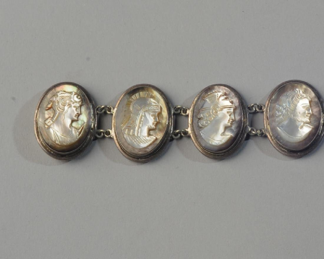 Unusual Mother of Pearl Cameo Bracelet - 3