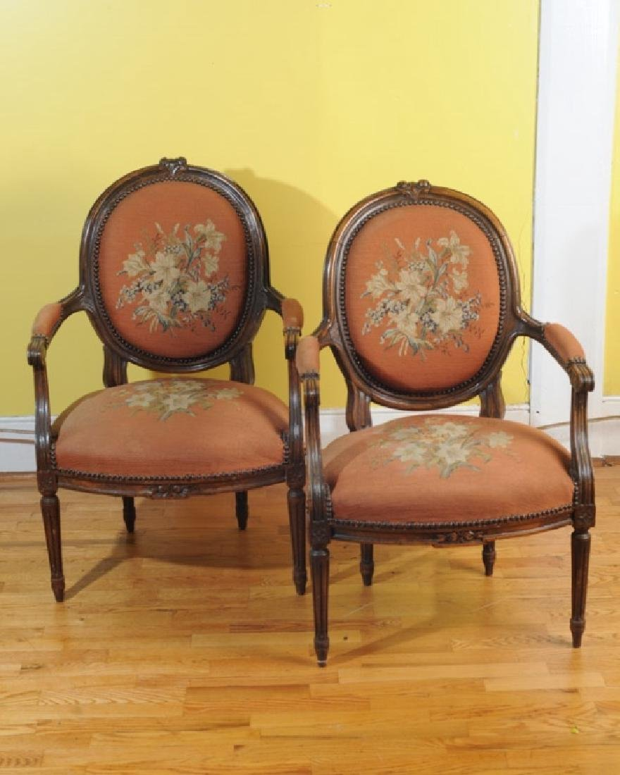 Pair of French Style Fauteuil Open Arm Chairs