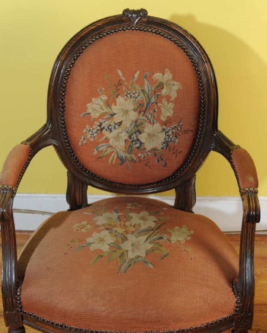 Pair of French Style Fauteuil Open Arm Chairs - 2