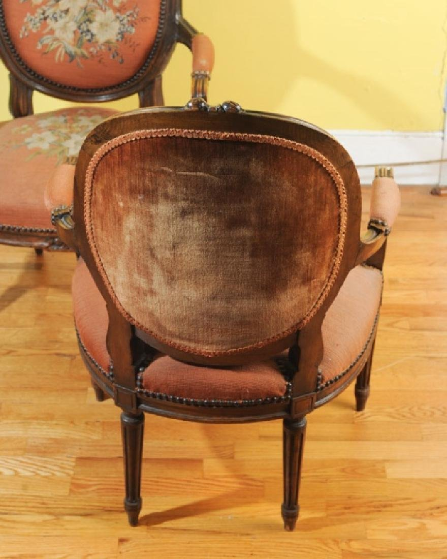 Pair of French Style Fauteuil Open Arm Chairs - 4