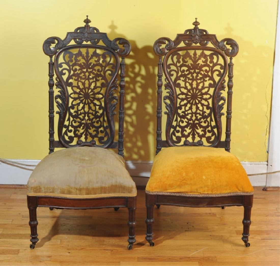 Pair of Jacobean Style Side Chairs