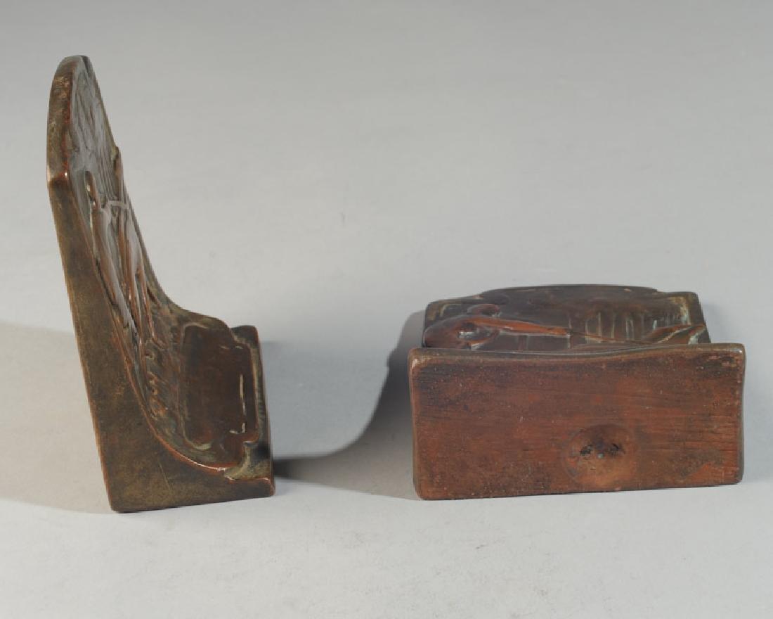 Pair of Bronze Art Nouveau Bookends - 3