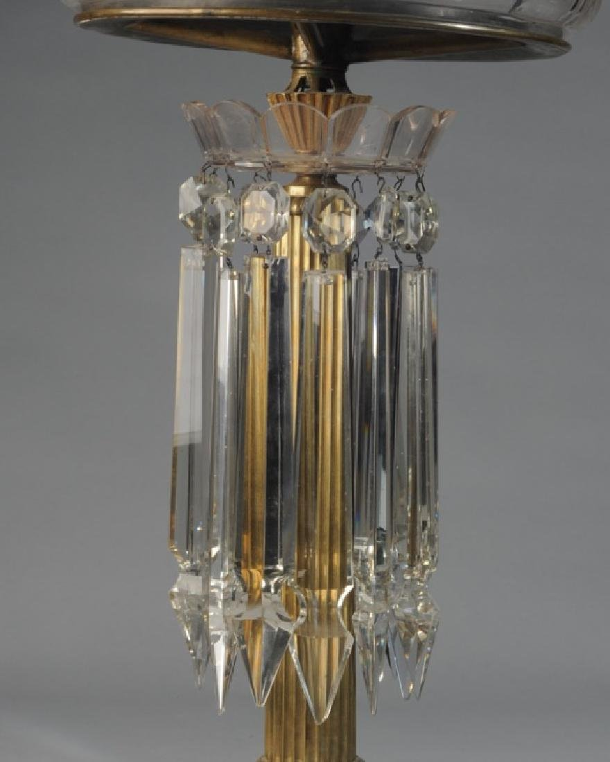Early Glass and Brass Banquet Lamp - 2