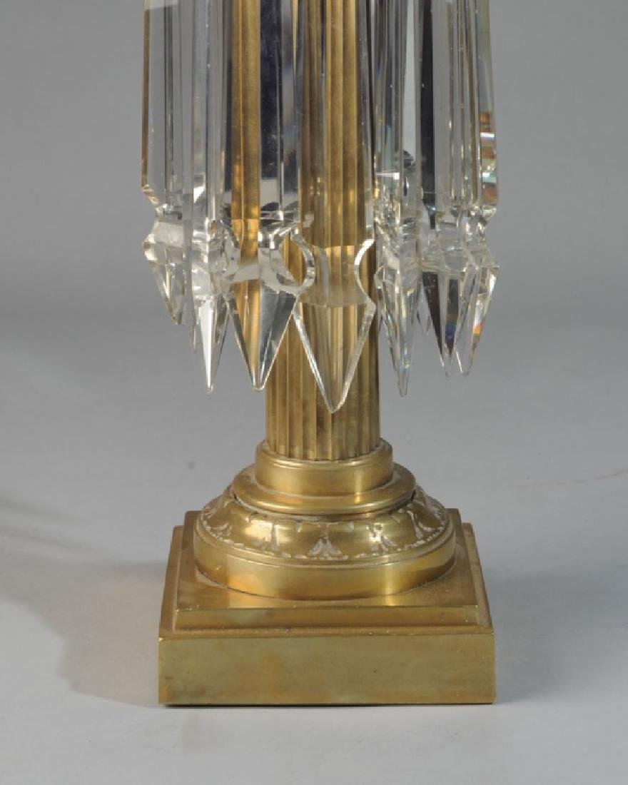 Early Glass and Brass Banquet Lamp - 3