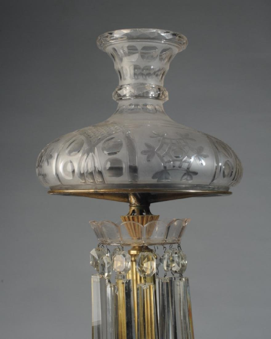 Early Glass and Brass Banquet Lamp - 4