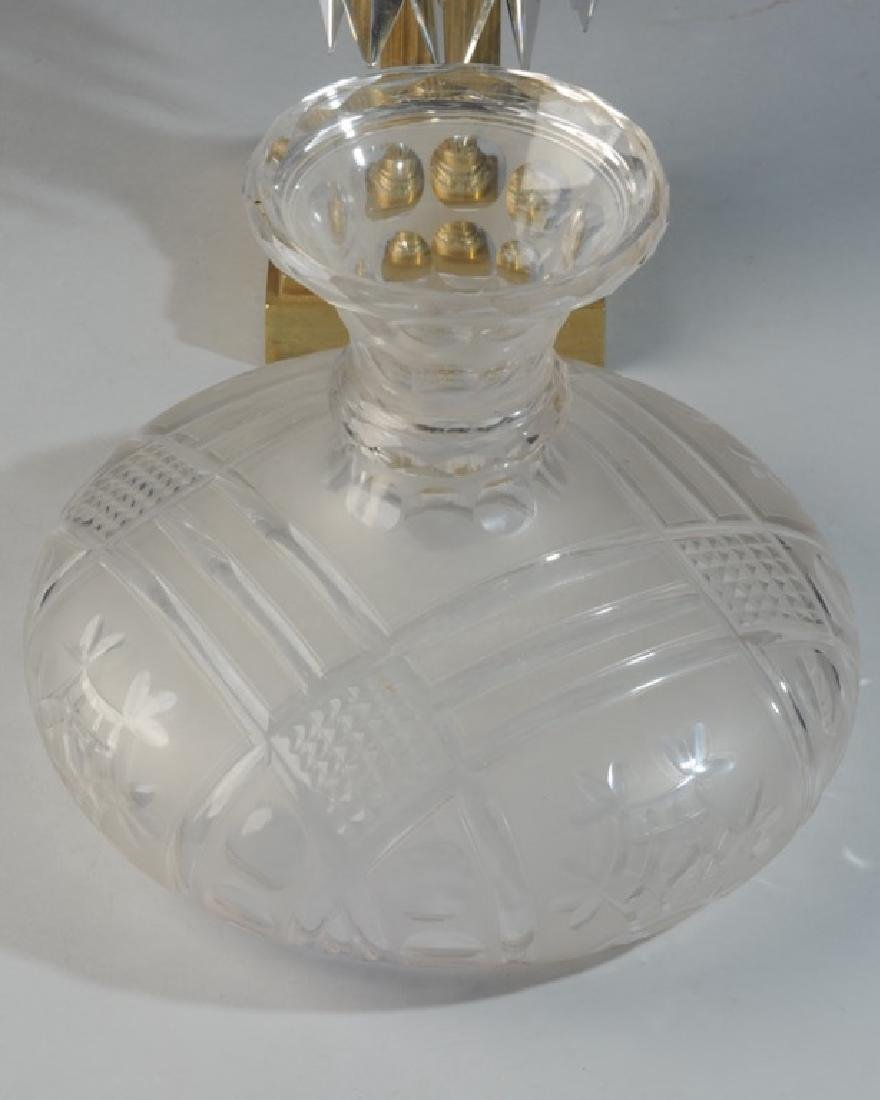 Early Glass and Brass Banquet Lamp - 7