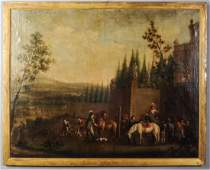 18th C. Continental Oil on Canvas Departure