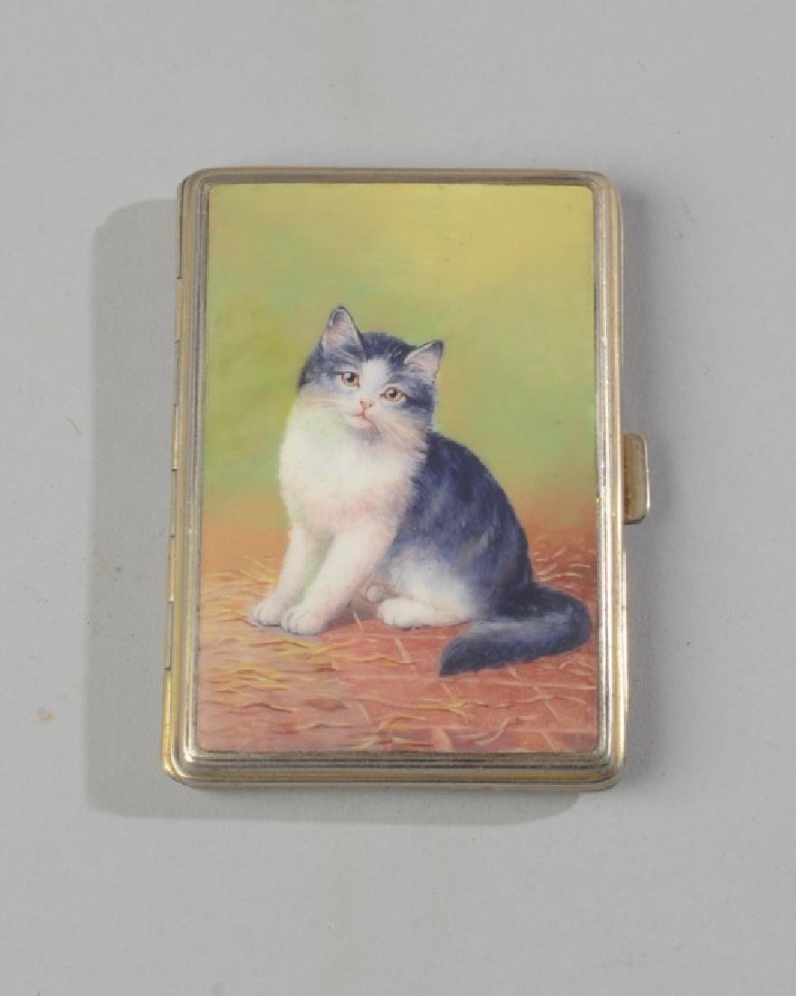 Vintage Enamel Cat Box