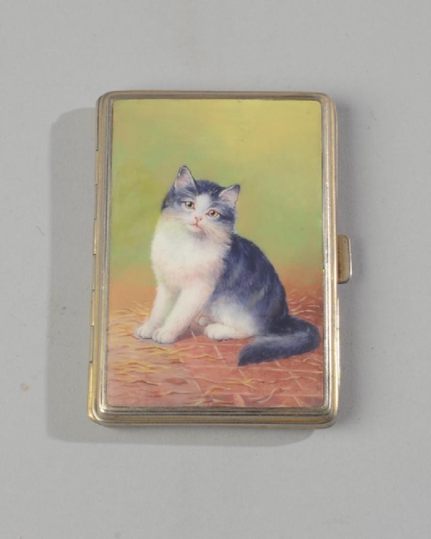 Vintage Enamel Cat Box