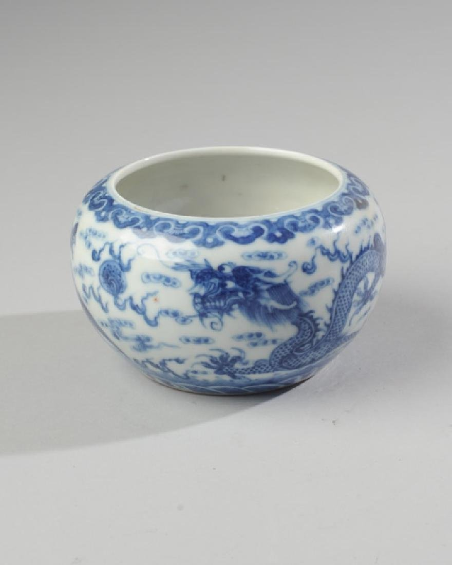 Chinese Qing / Republic Blue & White Dragon Bowl