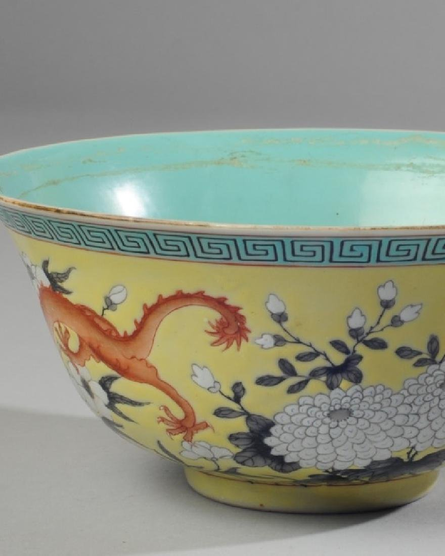 Chinese Republic Yellow & Grisaille Dragon Bowl - 3