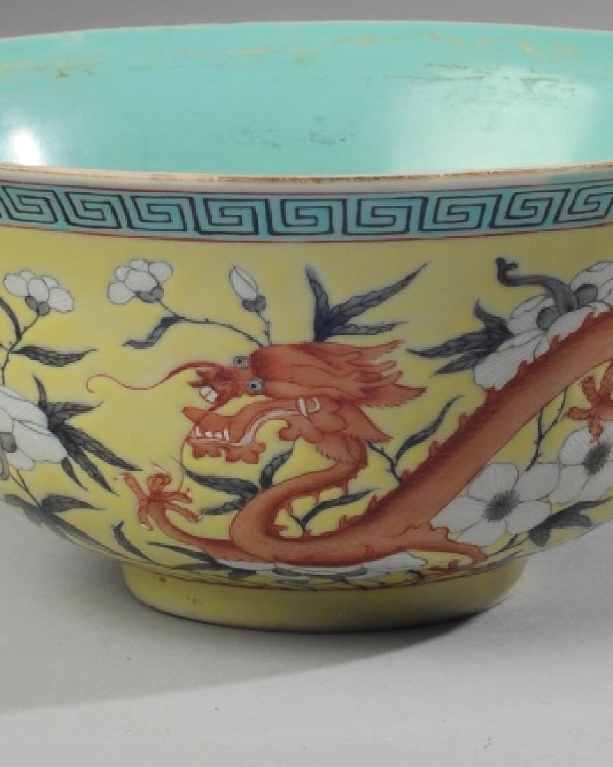 Chinese Republic Yellow & Grisaille Dragon Bowl - 4