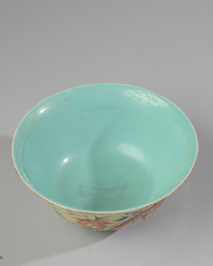 Chinese Republic Yellow & Grisaille Dragon Bowl - 5