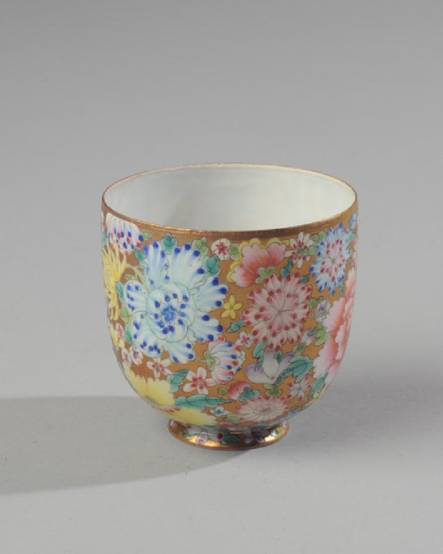 Chinese Famille Rose Millefleur Cup Eggshell - 2