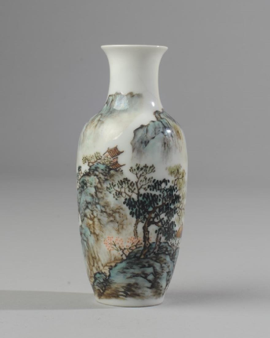 Chinese Republic Scenic Vase Famille Rose