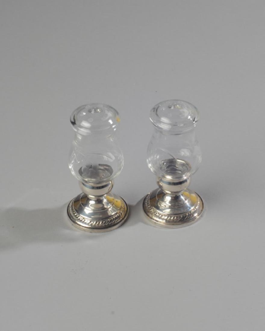 Pair of Sterling and Glass Salt and Pepper Shakers