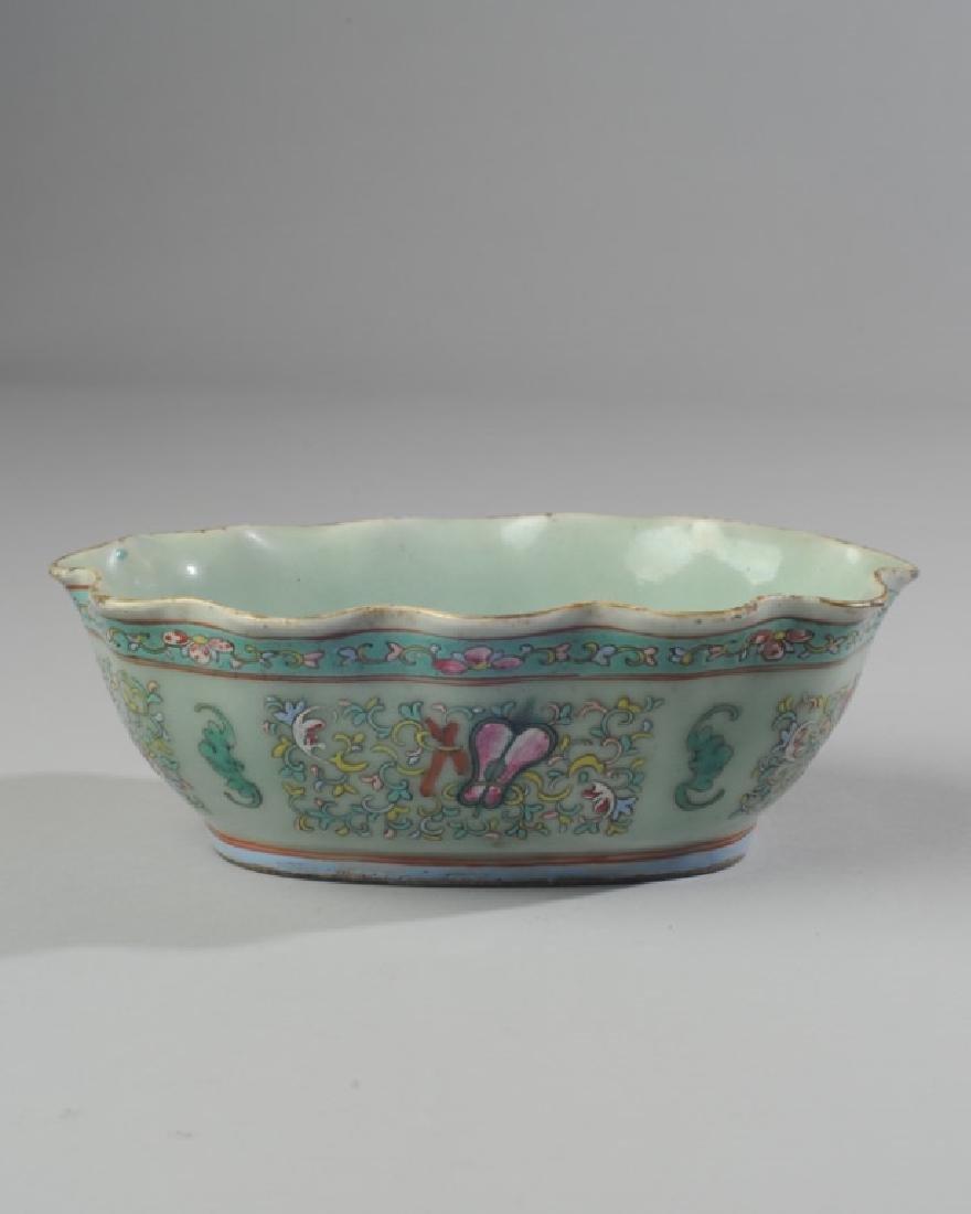 Chinese Famille Rose Celadon Ruffled Bowl Tongzhi