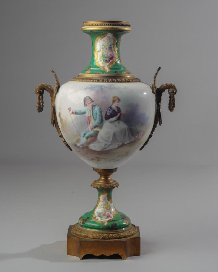 Sevres Painted Porcelain C. Belly Urn