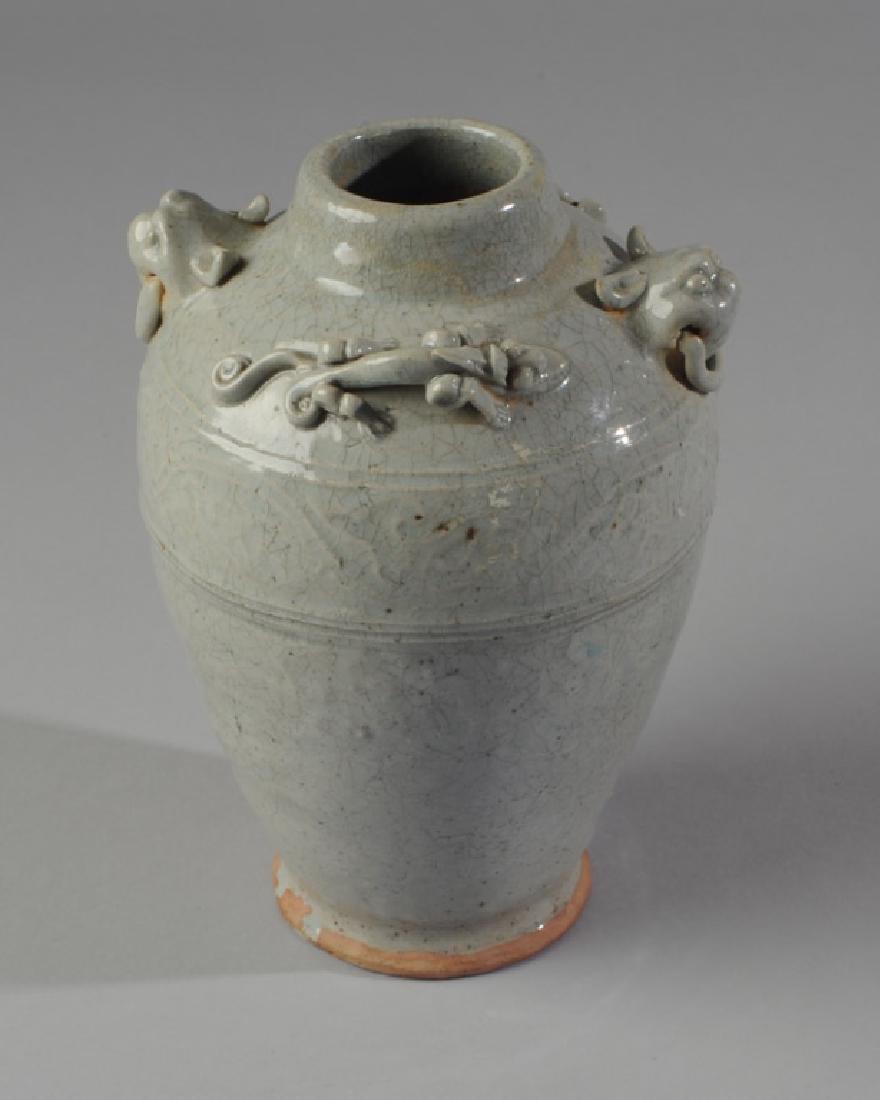 Chinese Celadon Pottery Dragon Vase