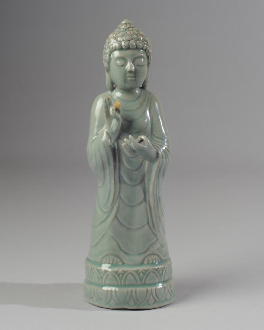 Korean Celadon Glaze Porcelain Figure of Buddha