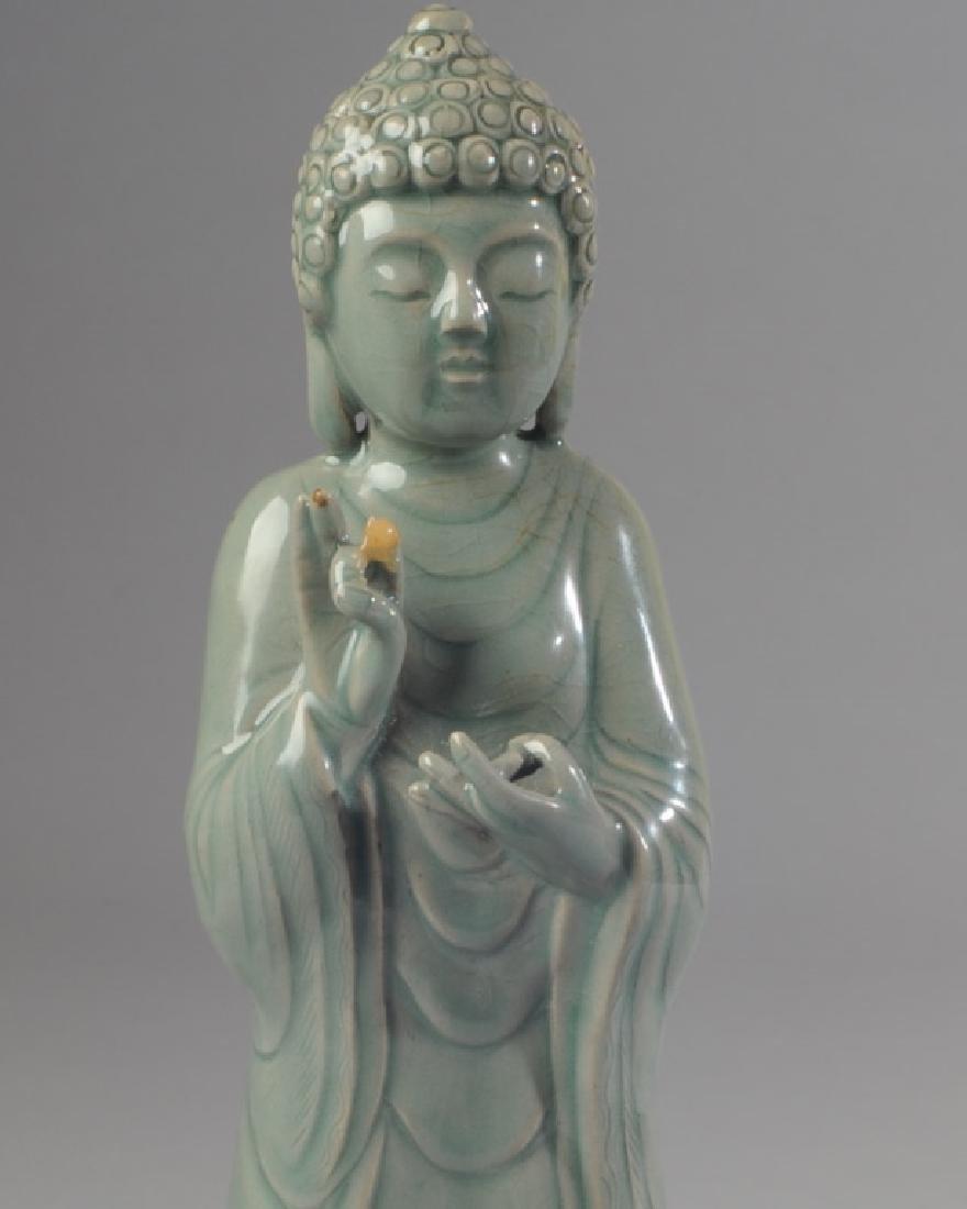 Korean Celadon Glaze Porcelain Figure of Buddha - 2