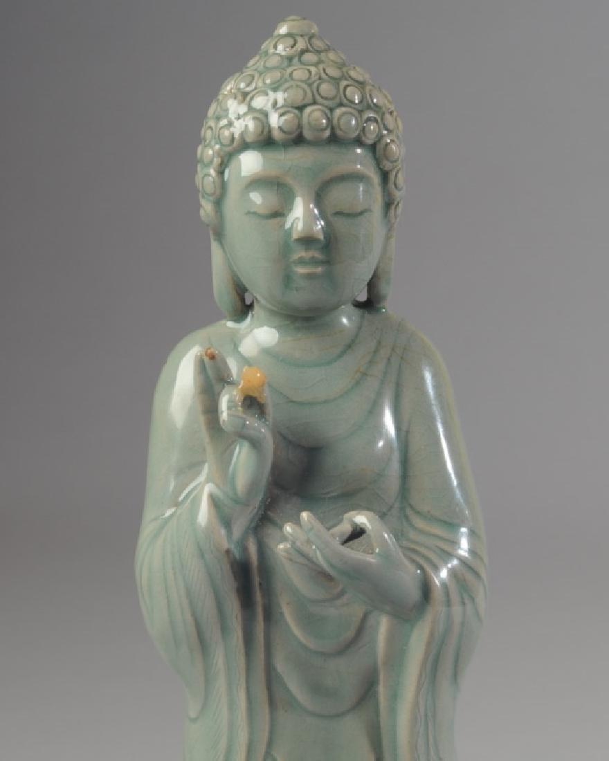 Korean Celadon Glaze Porcelain Figure of Buddha - 3