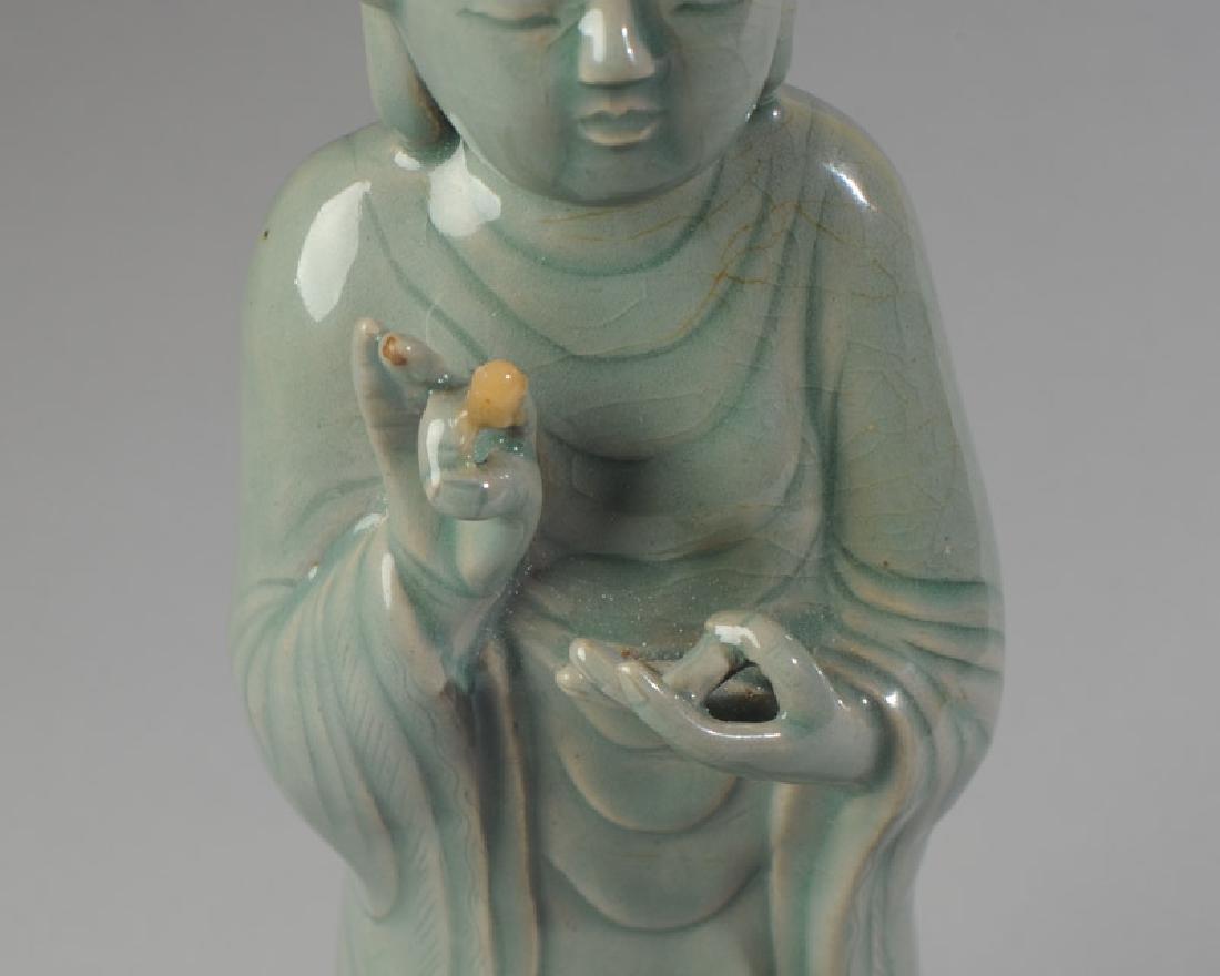 Korean Celadon Glaze Porcelain Figure of Buddha - 4