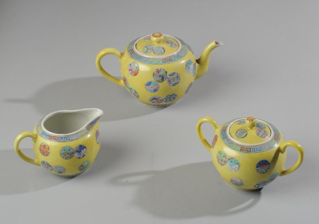 Chinese Porcelain Famille Jaune Tea Set