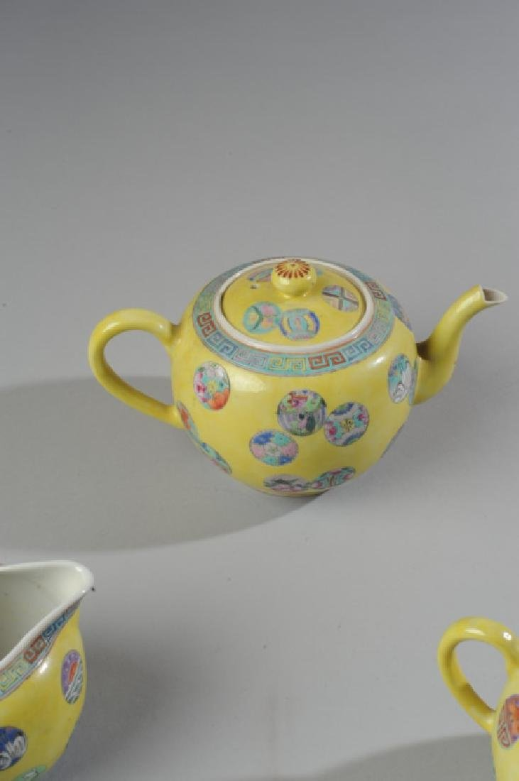 Chinese Porcelain Famille Jaune Tea Set - 4