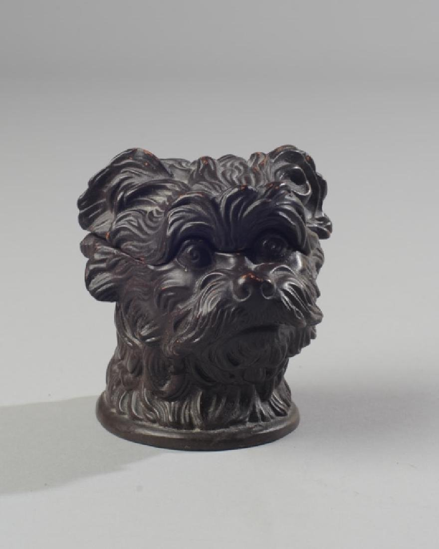 19th C. Continental Pottery Dog Match Holder