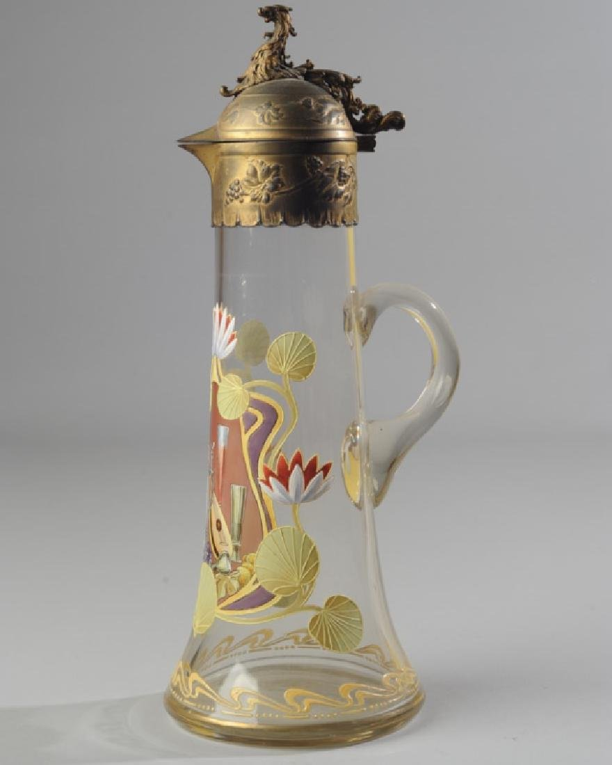 Blown Glass and Enamel Ewer