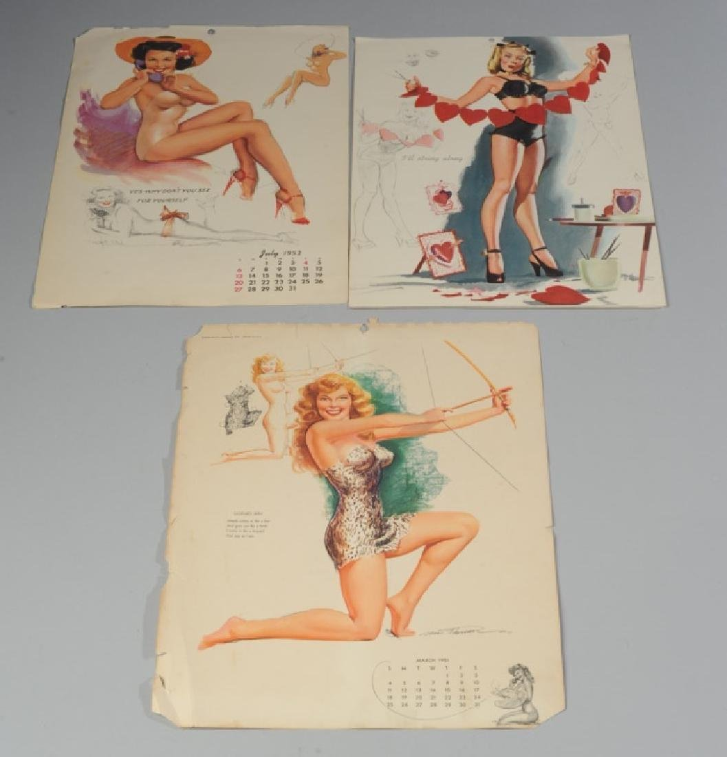 Three Vintage Pin-Up Girl Calendar Pages