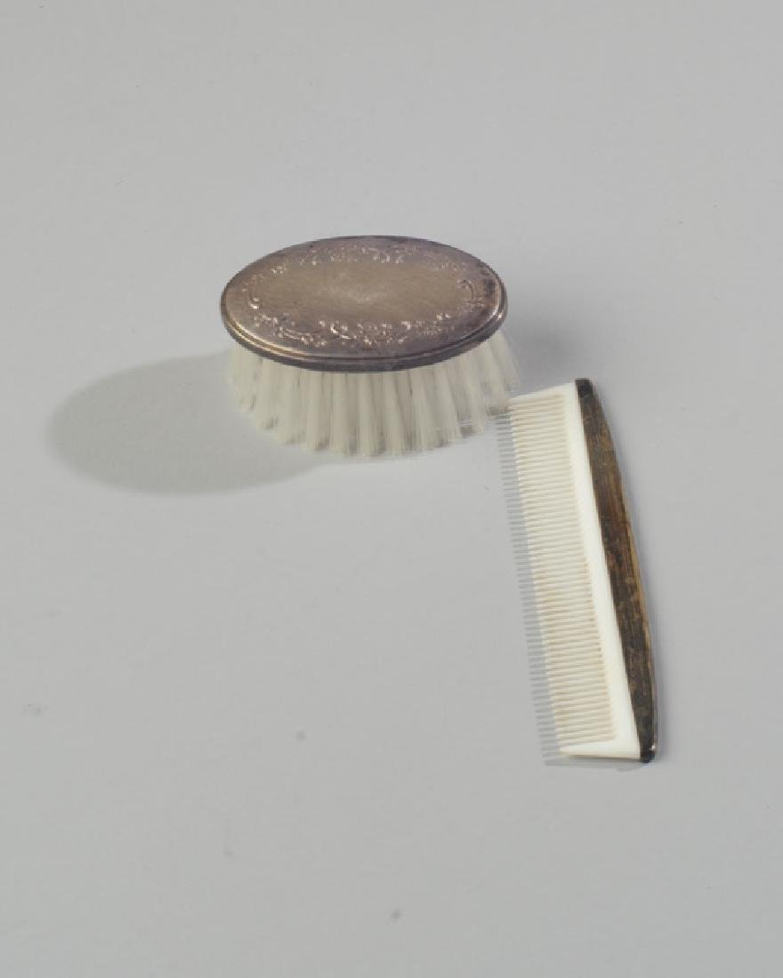 Child's Sterling Silver and Plastic Comb and Brush