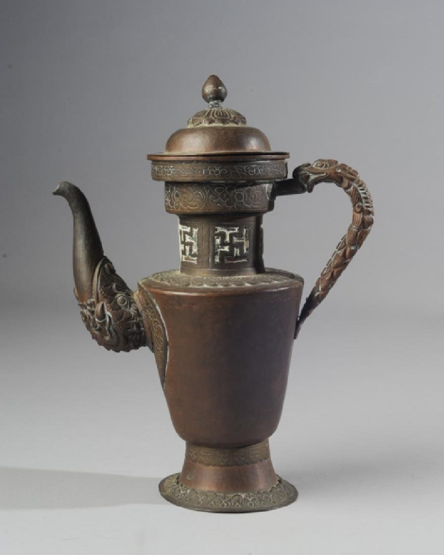 Antique Chinese Copper & Brass Dragon Ewer