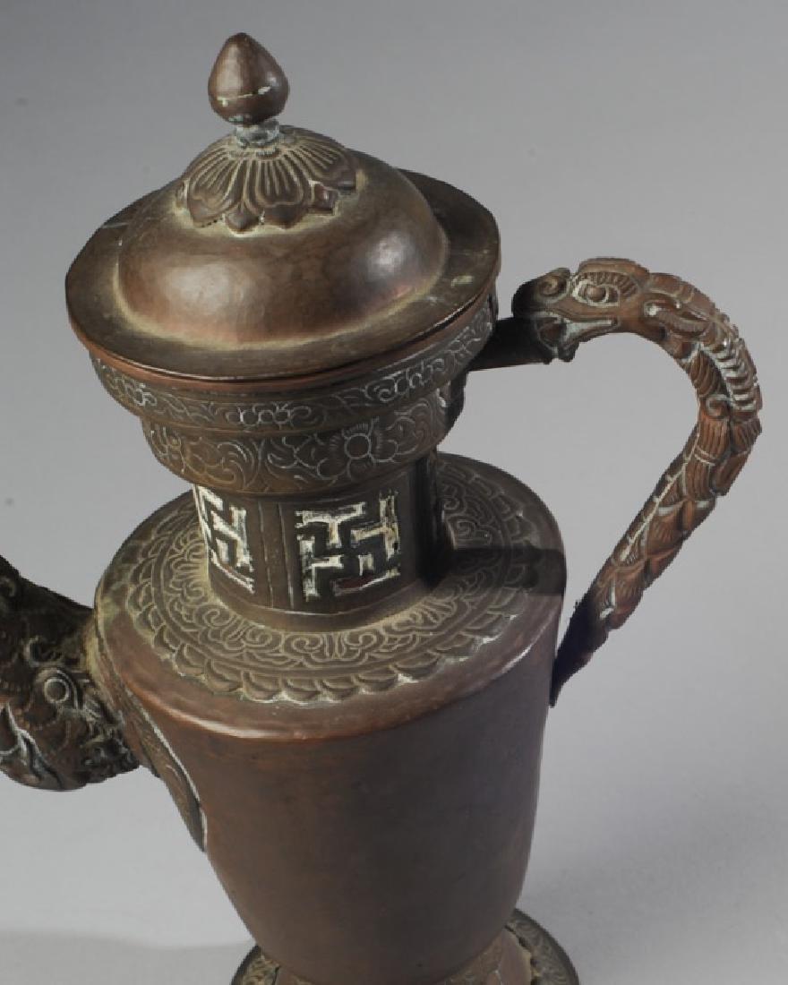 Antique Chinese Copper & Brass Dragon Ewer - 2