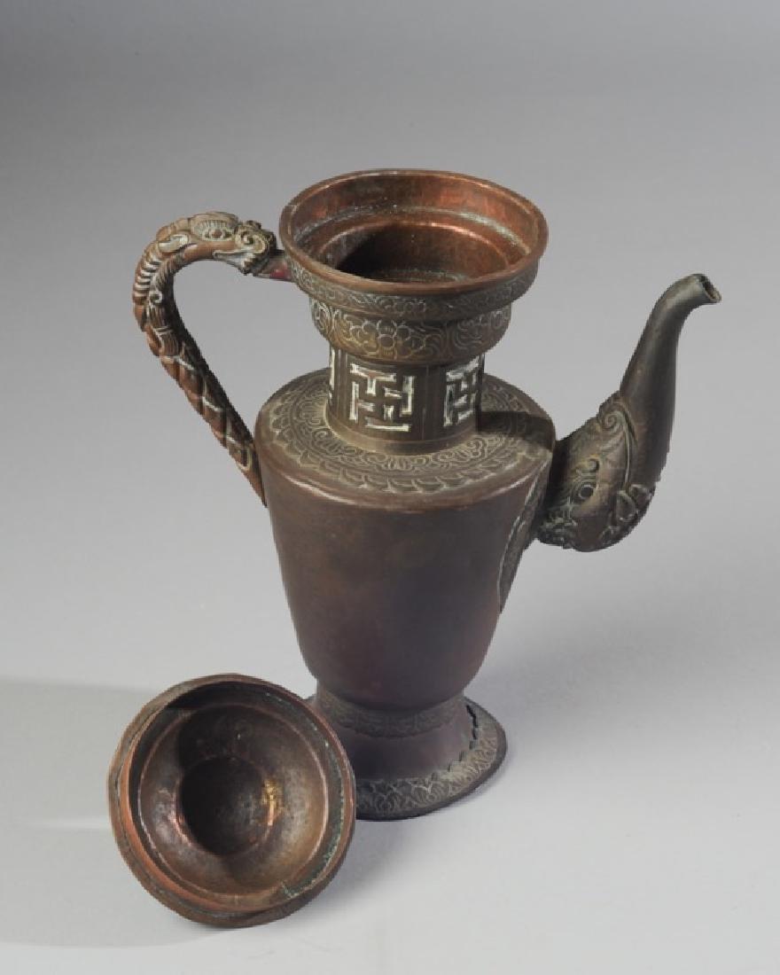 Antique Chinese Copper & Brass Dragon Ewer - 4