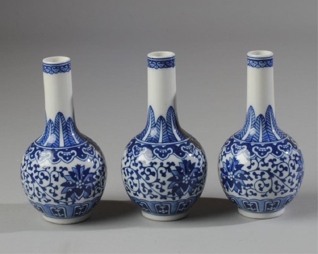3 Chinese Blue & White Porcelain Jingdezhen Vases